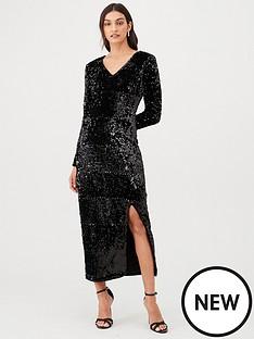 v-by-very-plunge-sequin-v-maxi-dress-black