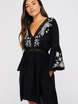 accessorize-mono-embroidered-beach-dress-black
