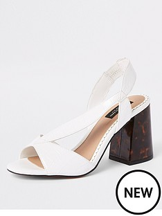 b7a8f0400f River Island River Island Wide Fit Cross Strap Block Heel Sandals - White