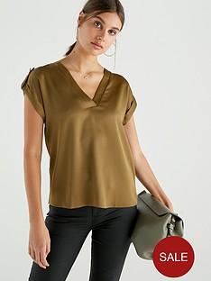 river-island-river-island-button-detail-woven-t-shirt-khaki
