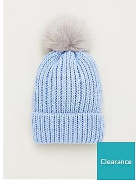 v-by-very-faux-fur-knit-pom-pom-beanie