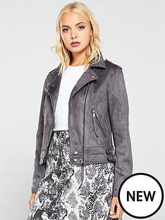 warehouse-faux-suedenbspbiker-jacket-grey