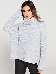 superdry-tori-cable-cape-knit-grey-marl