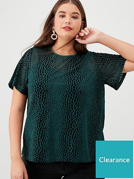 v-by-very-curve-short-sleeve-shell-top-forest-green