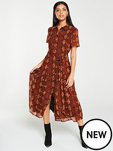 warehouse-snake-print-pleated-midi-shirt-dress-orange
