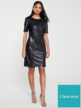 boss-casual-faux-leather-shirt-dress-black