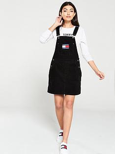 tommy-jeans-dungaree-dress-black