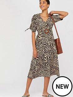 monsoon-zadie-zebra-print-organic-cotton-dress-brown