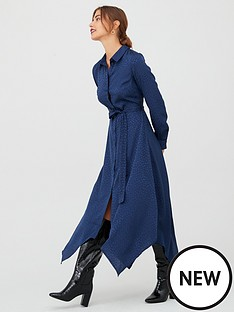 v-by-very-jacquard-hanky-hem-shirt-dress-navy