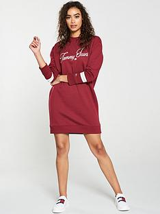 tommy-jeans-logo-sweatshirt-dress-red