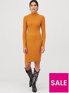 v-by-very-ribbed-high-neck-dress-brown