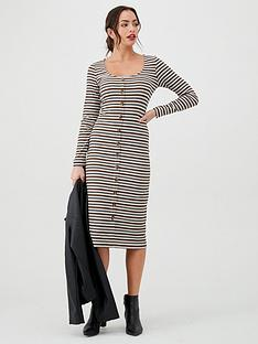v-by-very-button-front-midi-dress-stripe