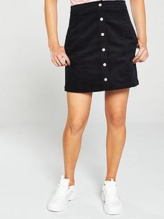 calvin-klein-jeans-mini-corduroy-button-down-skirt-black