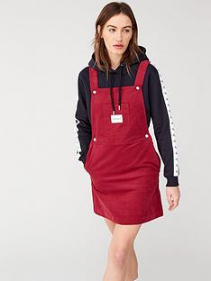 calvin-klein-jeans-mini-corduroy-dungaree-dress-red