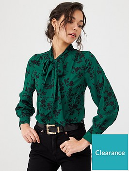 v-by-very-pussybow-blouse-print