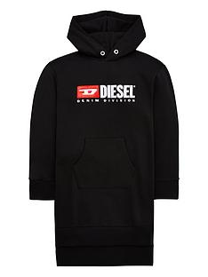 diesel-girls-logo-hooded-sweat-dress-black