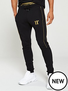 11-degrees-double-waistband-fleece-skinny-joggers-black