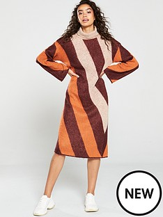 native-youth-victoria-striped-knitted-dress-ruststripe
