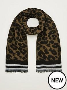 v-by-very-animal-print-stripe-scarf-green