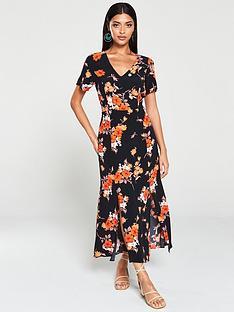 wallis-wallis-ditsy-bloom-split-front-midi-dress