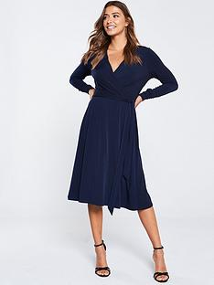 wallis-wrap-midi-fit-and-flare-dress-ink