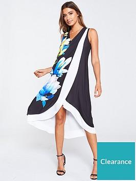 wallis-colour-block-floral-overlayer-dress-black