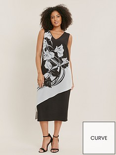 evans-mono-floral-print-overlay-dress