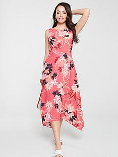 wallis-vivid-oriental-hanky-hem-dress-pink