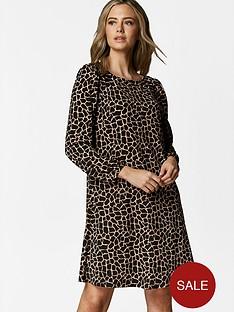 wallis-petite-camel-giraffe-dress-black