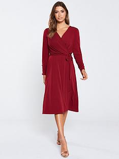 wallis-wrap-front-midi-dress-berry