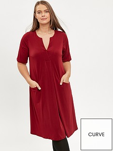 evans-notch-neck-dress-red