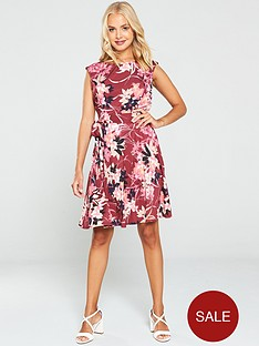 wallis-vivid-oriental-fit-and-flare-dress-berry