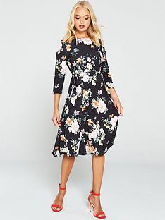 wallis-oriental-floral-a-line-dress-black
