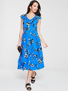 wallis-butterfly-frill-midi-dress-blue