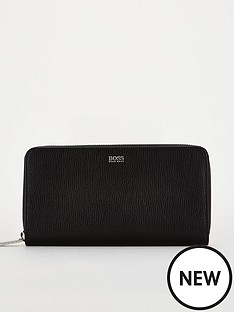 boss-casual-taylor-zip-around-leather-purse-black