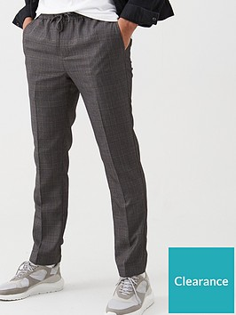 very-man-slim-smart-check-trousers-grey