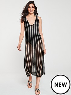 river-island-river-island-stripe-knitted-midi-beach-dress-black