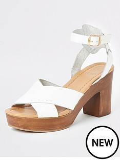 10622520975b River Island River Island Leather Cross Platform Heel Sandals - White