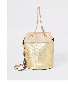 river-island-woven-bucket-bag-gold