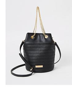 river-island-woven-bucket-bag-black