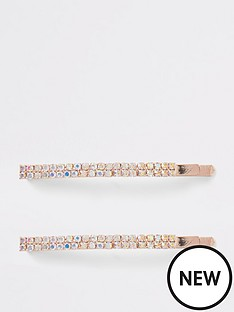 river-island-river-island-two-pack-sparkle-hair-clip-gold