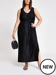 ri-plus-jersey-pleated-maxi-dress-black
