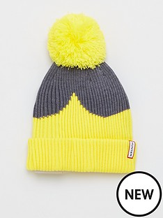 hunter-colour-block-bobble-hat-lightening-yellowgrey