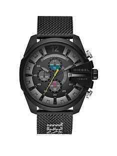 diesel-diesel-mega-chief-black-chronograph-dial-black-fabric-strap-mens-watch