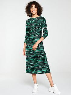 v-by-very-ruched-midi-animal-print-dress-green