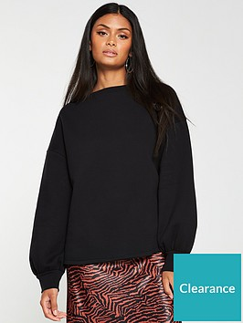 v-by-very-oversized-raw-hem-sweater-black