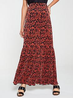 v-by-very-plisse-printed-maxi-skirt-red