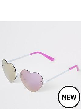 46886dd42e13 River Island Girls Heart Sunglasses - Pink | littlewoodsireland.ie