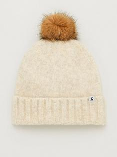 joules-snugwell-boucle-hat-with-pom-pom-cream