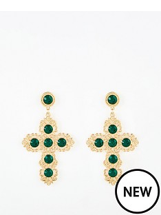 v-by-very-emerald-cross-earrings-gold